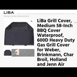 "Nwt Liba Grill Cover 58"" 600 Denier Thick"